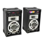 Dual 800 Watt Disco Jam Powered Two-Way PA Speaker System w/ USB/SD Card Readers, FM Radio, 3.5 mm AUX Input