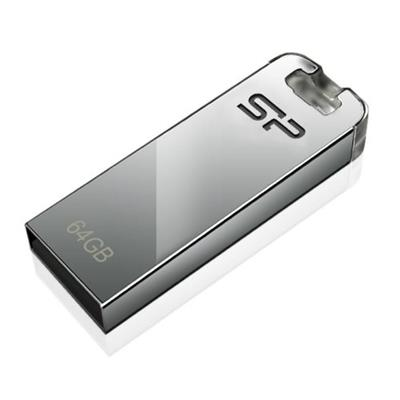 Silicon Power Computer and Communications 64GB Touch T03 USB 2.0 Flash Drive, Chrome Silver (SP064GBUF2T03V1F)