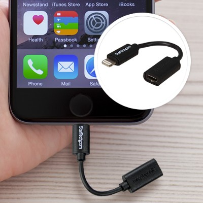 StarTechMicro USB to Lightning Connector Adapter for iPhone, iPad & iPod - Apple Certified - Black(USBUBLTB)