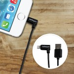 2m 6ft Angled Black Apple 8-pin Lightning to USB Cable for iPhone iPod iPad - Angled Lightning Cable, Charge & Sync