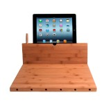 CTA Digital Bamboo Cutting Board with Stand for iPad and Knife Storage PAD-BCBS
