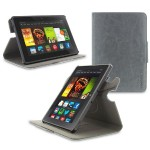 360 Rotating Dual-View Detachable Stand Case for Amazon Kindle Fire HDX 7 - Gray