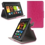 360 Rotating Dual-View Detachable Stand Case for Amazon Kindle Fire HDX 7 - Magenta