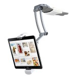 "2-in-1 Kitchen Mount Stand - Mounting kit (dual swing arm, rubber pad, 2 mounting bases, adjustable holder) for tablet - aluminum - screen size: 7""-10"" - wall-mountable, table-top, under-the-cabinet"