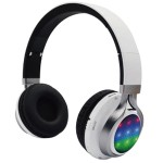 QFX Folding Bluetooth Stereo Headphones with Disco Lights - White H-252BT-WHT
