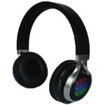 QFX Folding Bluetooth Stereo Headphones with Disco Lights H-252BT-BLK