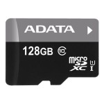 A-DATA Technology Premier - Flash memory card ( microSDXC to SD adapter included ) - 128 GB - UHS Class 1 / Class10 - microSDXC UHS-I AUSDX128GUICL10-RA1