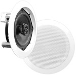 Pyle In-Wall / In-Ceiling Dual 8-inch Speaker System, 2-Way, Flush Mount - White, Pair PDIC81RD