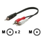 Steren Electronics Audio adapter - 26 AWG - RCA (M) to RCA (M) - 5.9 in - shielded - black 255-020