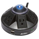 Accell Powramid Power Center and USB Charging Station - Surge protector - AC 125 V - 1800 Watt - output connectors: 6 - black D080B-015K