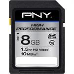 PNY 8GB High Performance SDHC Class 10 - 10 MB/s SD Card P-SDHC8G10-10-GE